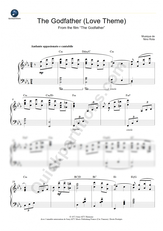 Partition piano Le Parrain (Love Theme) - Nino Rota