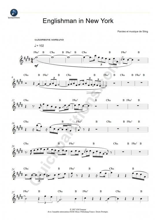 Englishman in New York Soprano Saxophone Sheet Music - Sting