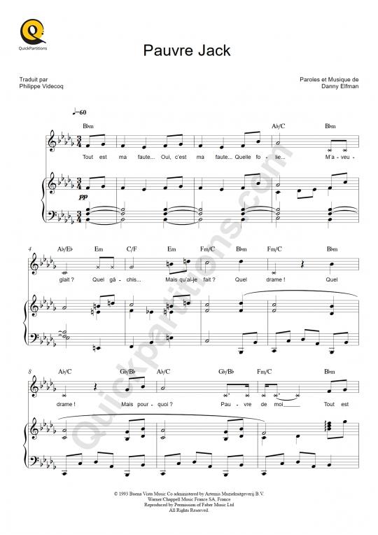 Partition piano Pauvre Jack  - L'étrange Noël de Monsieur Jack