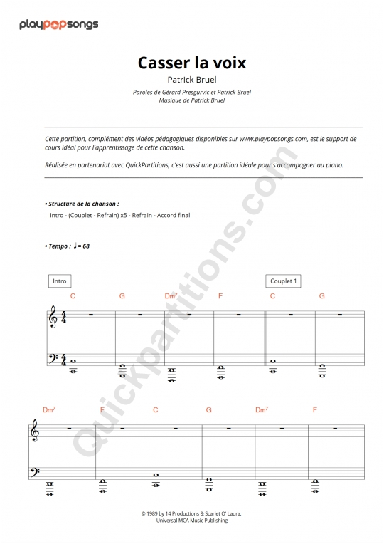 Casser la voix Piano Sheet Music - PlayPopSongs