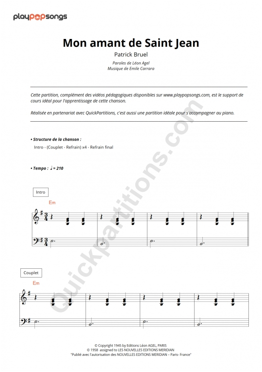 Mon amant de Saint Jean Piano Sheet Music - PlayPopSongs
