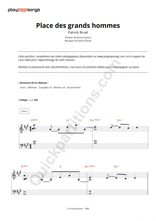 Place des grands hommes Piano Sheet Music - PlayPopSongs