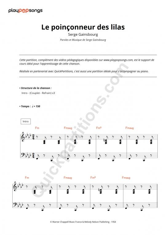 Partition piano Le poinçonneur des lilas - PlayPopSongs