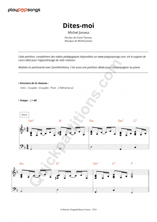 Dites-moi Piano Sheet Music - PlayPopSongs