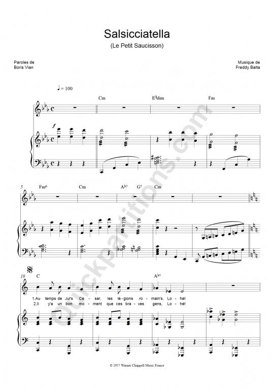 Partition piano Salsicciatella - Boris Vian