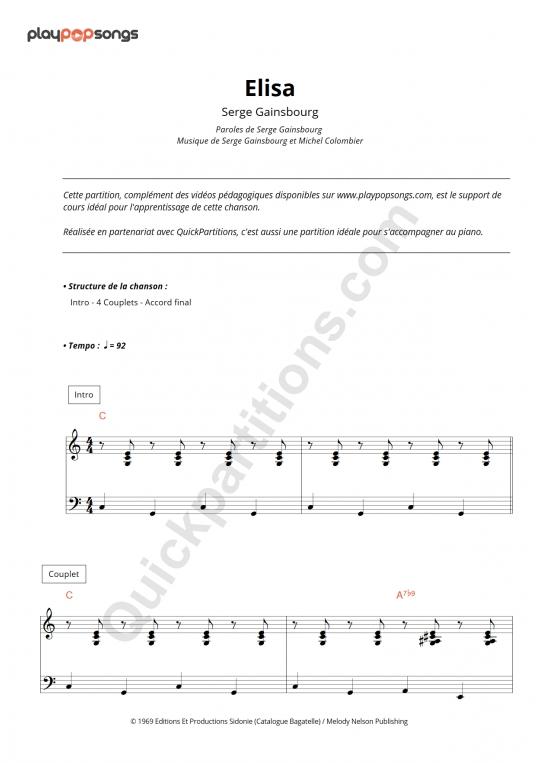 Elisa Piano Sheet Music - PlayPopSongs