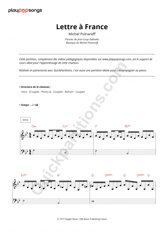 Lettre à France Piano Sheet Music - PlayPopSongs