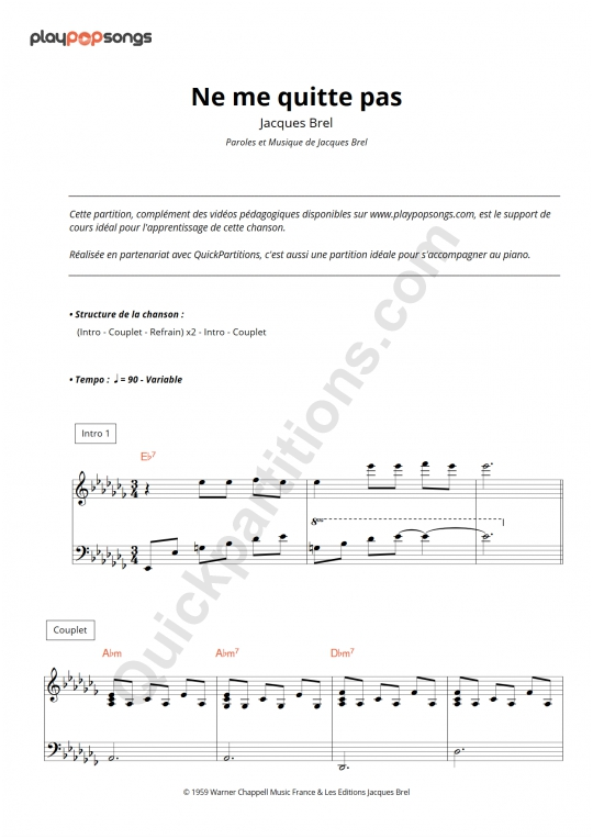 Ne me quitte pas Piano Sheet Music - PlayPopSongs
