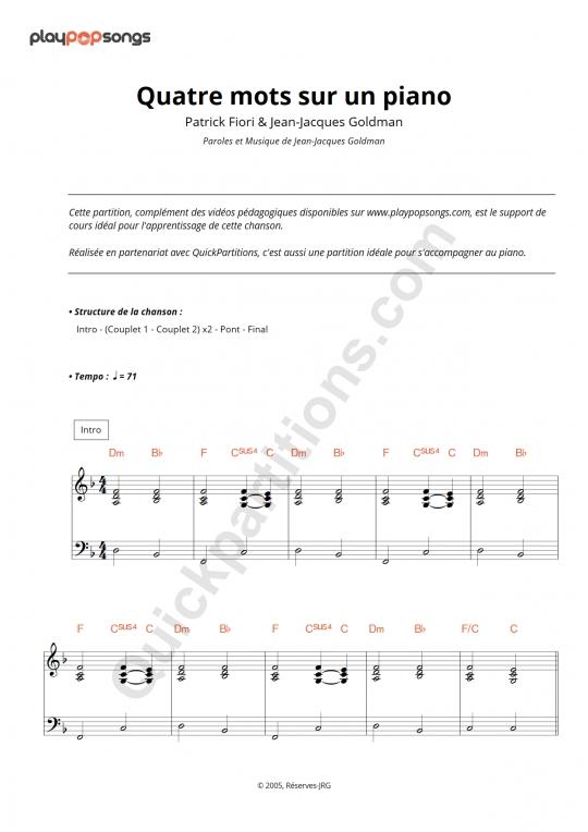 Support de cours Quatre mots sur un piano - PlayPopSongs
