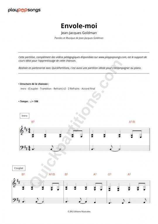 Envole-moi Piano Sheet Music - PlayPopSongs