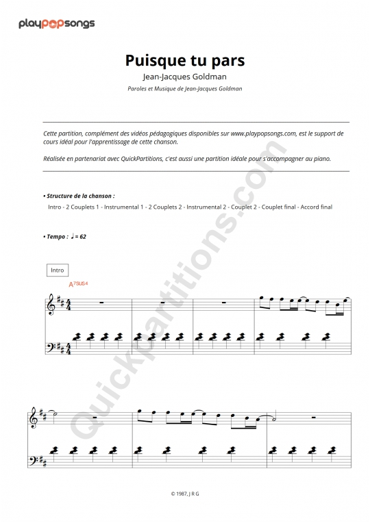 Puisque tu pars Piano Sheet Music - PlayPopSongs