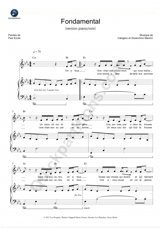 Partition piano Fondamental (version piano/voix) - Calogero