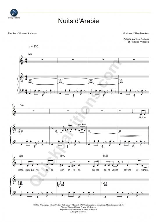 Partition piano Nuits d'Arabie - Aladdin