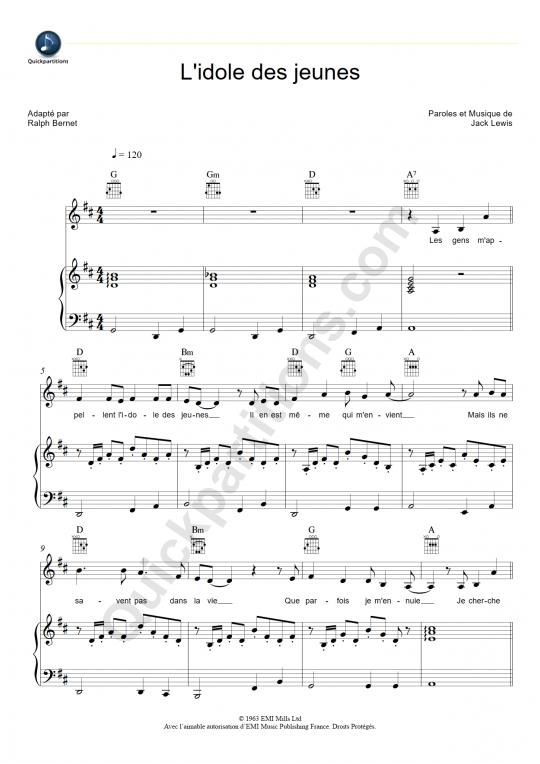 Partition piano L'idole des jeunes - Johnny Hallyday