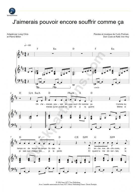Partition piano J'aimerais pouvoir encore souffrir comme ça - Johnny Hallyday