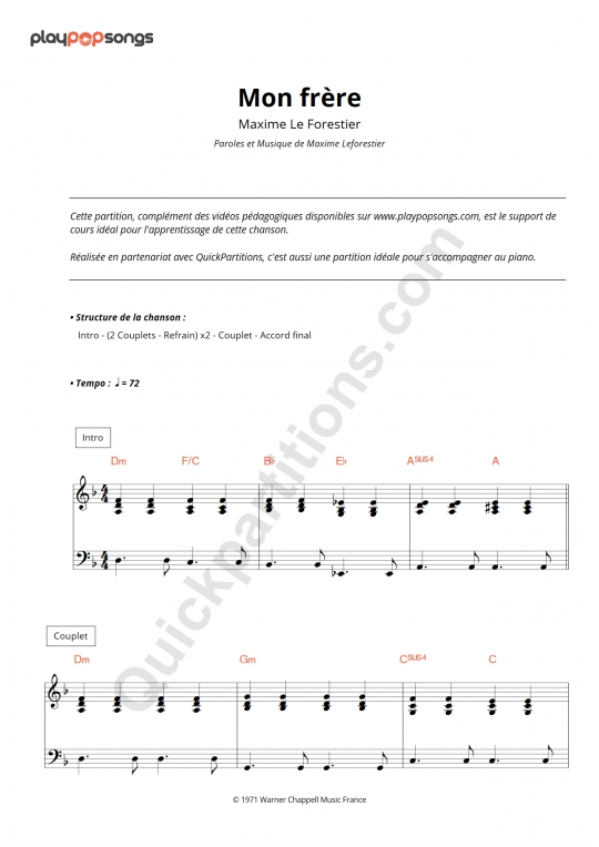 Mon frère Piano Sheet Music - PlayPopSongs