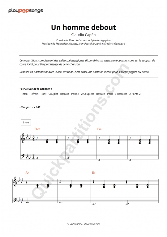 Un homme debout Piano Sheet Music - PlayPopSongs