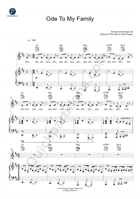 Ode To My Family Piano Sheet Music - The Cranberries