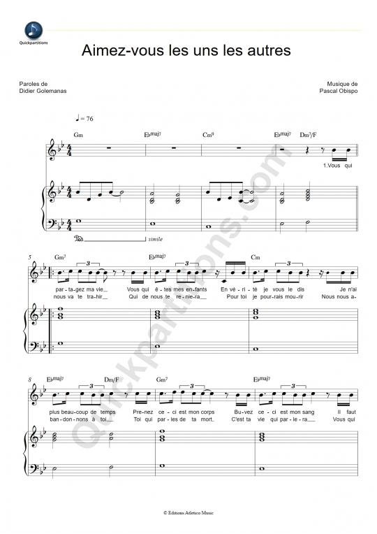 Partition piano Aimez-vous les uns les autres  - Jésus, la fresque musicale