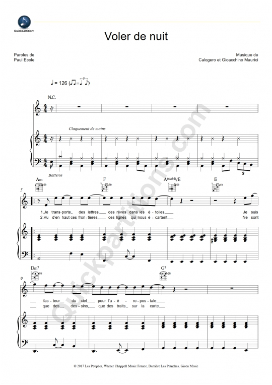 Voler de nuit Piano Sheet Music - Calogero