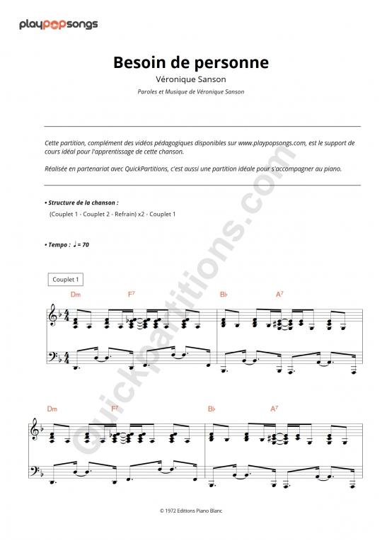 Besoin de personne Piano Sheet Music - PlayPopSongs