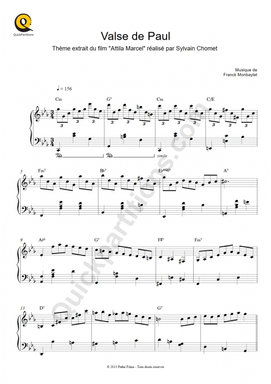 Partition piano Valse de Paul - Franck Monbaylet