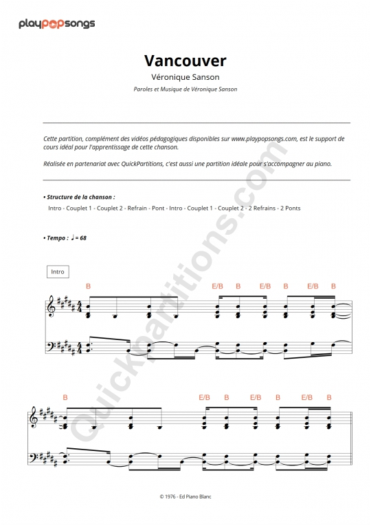 Vancouver Piano Sheet Music - PlayPopSongs