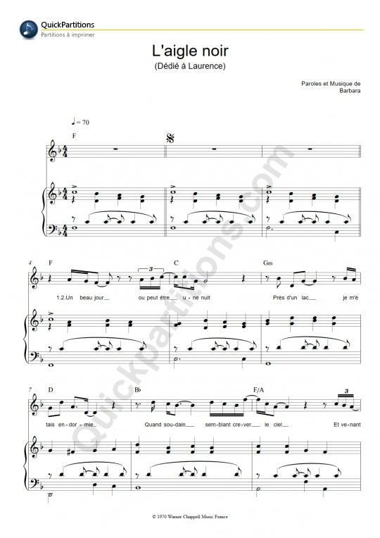 Partition piano L'aigle noir - Barbara