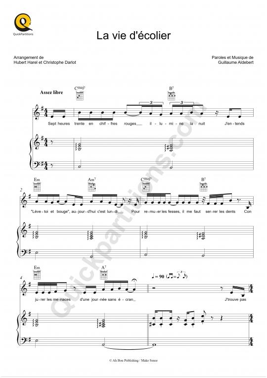 Partition piano La vie d'écolier - Aldebert