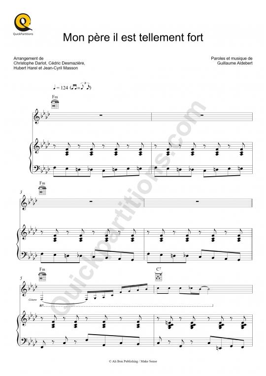 Mon père il est tellement fort Piano Sheet Music - Aldebert