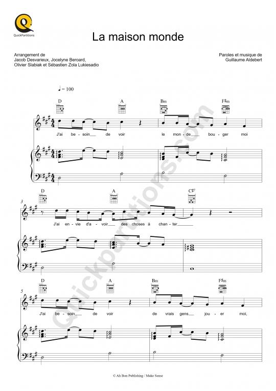 Partition piano La maison monde - Aldebert