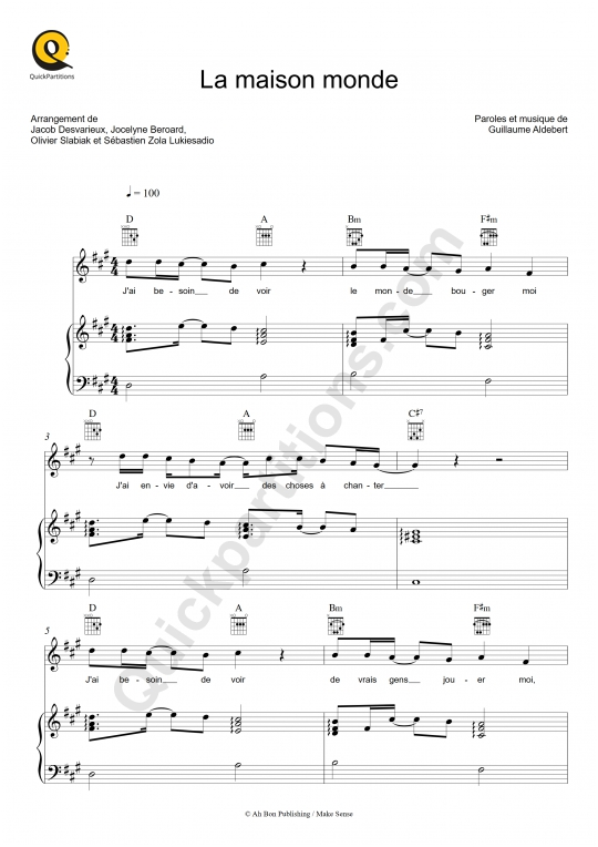 La maison monde Piano Sheet Music - Aldebert