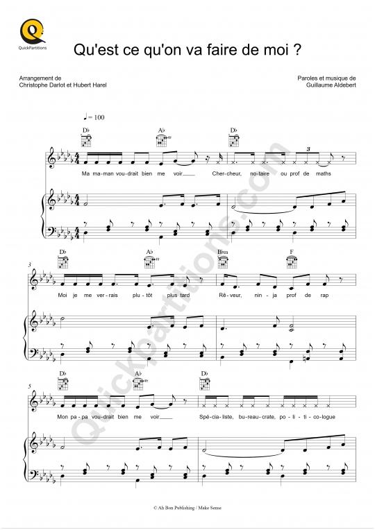 Qu'est ce qu'on va faire de moi ? Piano Sheet Music - Aldebert