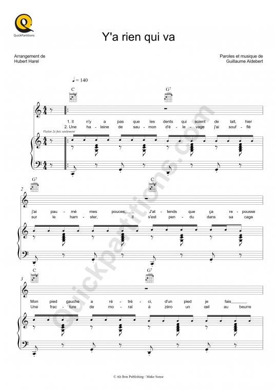 Y'a rien qui va Piano Sheet Music - Aldebert