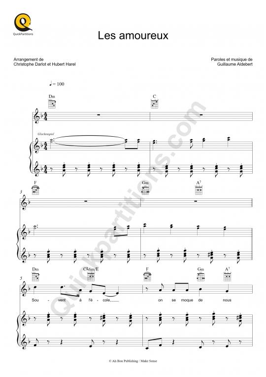 Partition piano Les amoureux - Aldebert