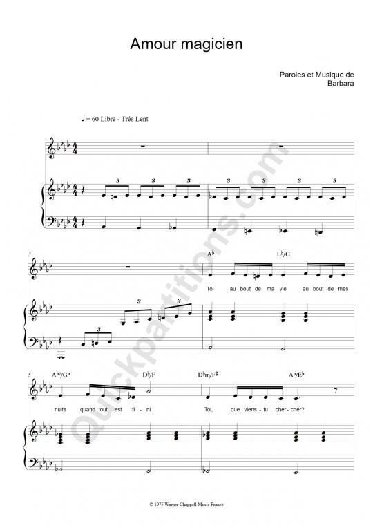Partition piano Amour magicien - Barbara