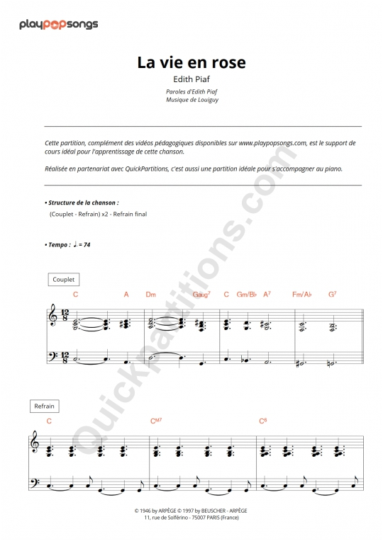 La vie en rose Piano Sheet Music - PlayPopSongs