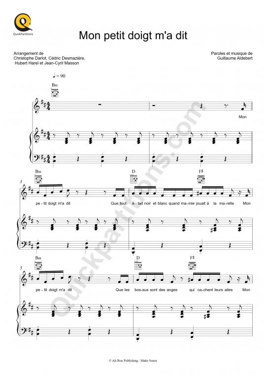 Partition piano Mon petit doigt m'a dit - Aldebert