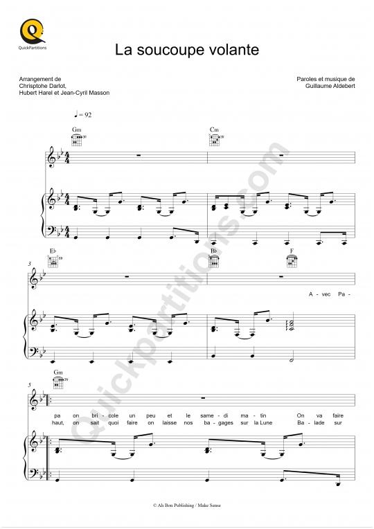 Partition piano La soucoupe volante - Aldebert