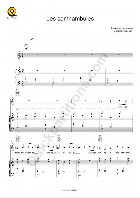 Partition piano Les somnambules - Aldebert