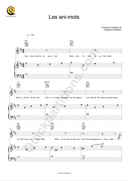 Partition piano Les ani-mots - Aldebert