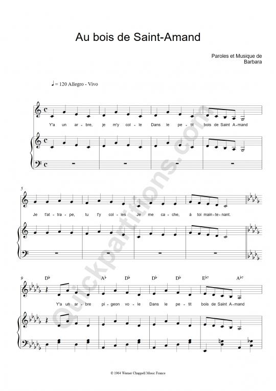 Partition piano Au bois de Saint-Amand - Barbara