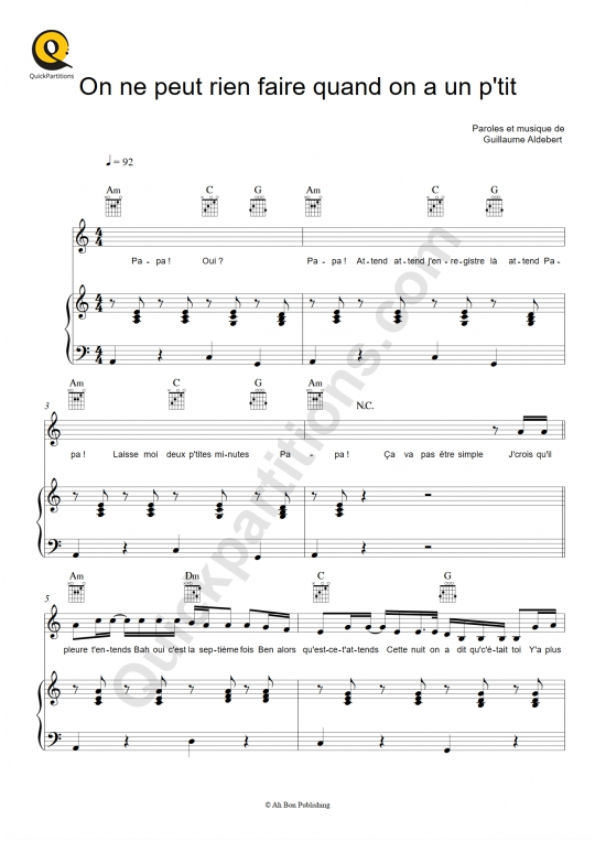 On ne peut rien faire quand on a un p'tit Piano Sheet Music - Aldebert