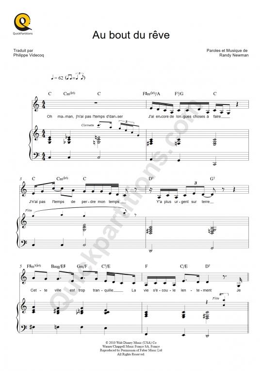 Partition piano Au bout du rêve - La princesse et la grenouille