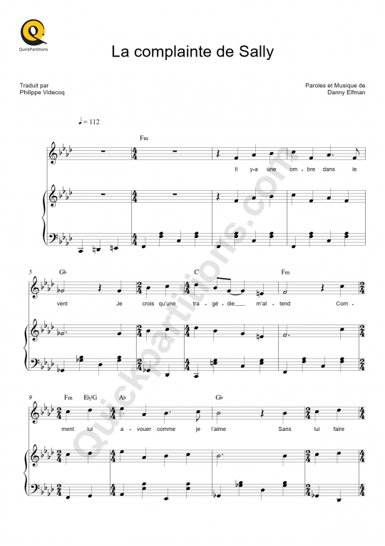 Partition piano La complainte de Sally - L'étrange Noël de Monsieur Jack