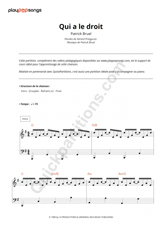 Qui a le droit Piano Sheet Music - PlayPopSongs