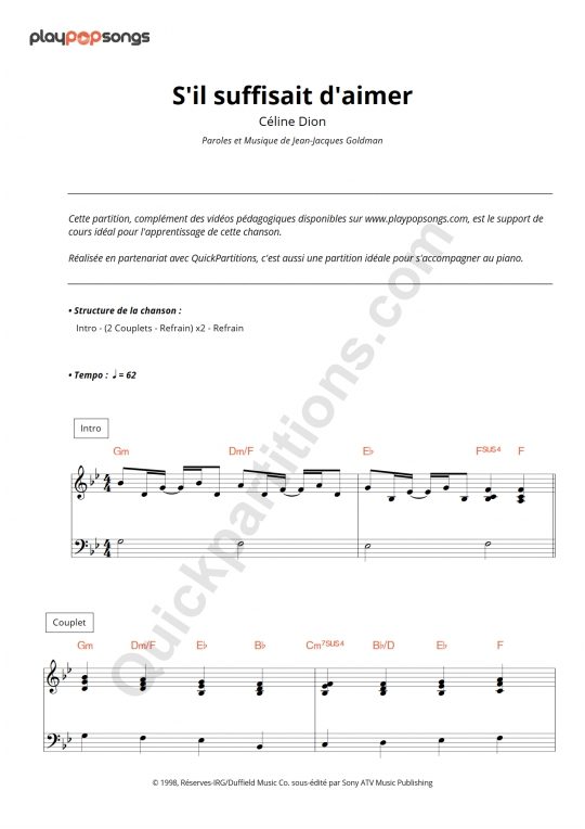 S'il suffisait d'aimer Piano Sheet Music - PlayPopSongs