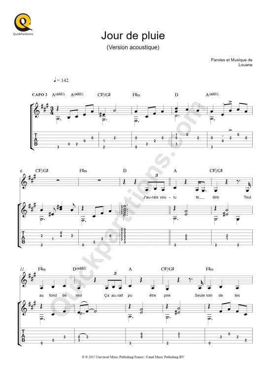 Tablature Guitare Jour de pluie - Louane