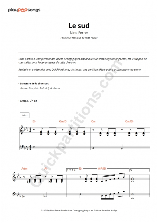 Le Sud Piano Sheet Music - PlayPopSongs