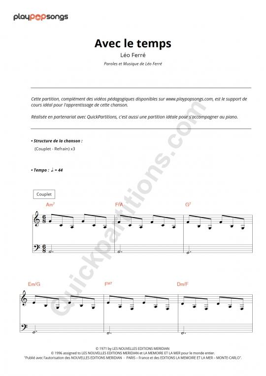 Avec le temps Piano Sheet Music - PlayPopSongs
